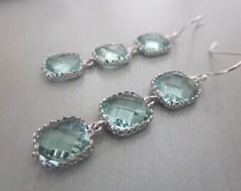Prasiolite Earrings Light Green Earrings Sterling Silver Earwires - Bridesmaid Earrings - Bridal Earrings - Wedding Earrings