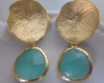 Aqua Blue Mint Earrings Gold Mushroom Coral - Sterling Silver Posts - Bridesmaid Earrings - Wedding Earrings Mint Wedding Jewelry