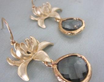 Charcoal Gray Earrings Gold Blossoms - Bridesmaid Earrings - Bridal Earrings - Wedding Jewelry