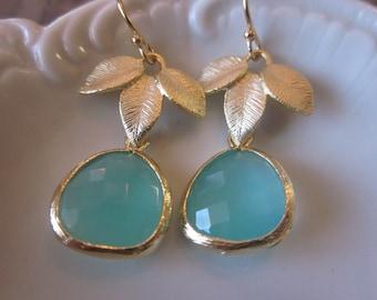 Aqua Earrings Gold Leaf - Bridal Earrings - Bridesmaid Earrings - Wedding Earrings - Two Tier