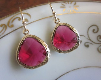 Red Garnet Earrings Gold - Bridesmaid Earrings - Bridal Earrings - Wedding Earrings - Valentines Day Gift - Gift under 30