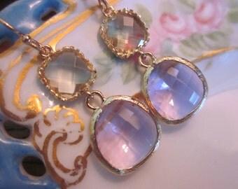 Citrine Earrings Lavender Earrings Gold - Glass Earrings - Bridesmaid Earrings - Bridal Earrings - Wedding Earrings