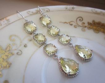 Citrine Earrings Yellow Earrings - 4 tier earrings - Sterling Silver - Bridesmaid Earrings - Wedding Earrings - Valentines Day Gift