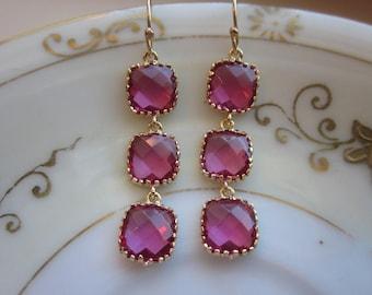Fuchsia Earrings Hot Pink Gold - Wedding Earrings - Bridesmaid Earrings - Bridal Earrings