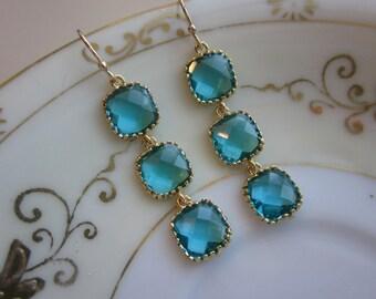 Sea Blue Earrings - Sea Green Earrings Gold - Wedding Earrings - Bridesmaid Earrings - Bridal Earrings