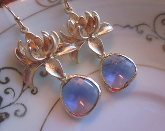 Tanzanite Earrings Purple Gold Blossoms - Bridesmaid Earrings - Bridal Earrings - Wedding Jewelry