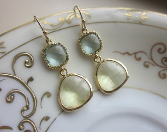 Citrine Earrings Prasiolite Glass Gold Plated - Bridesmaid Earrings - Wedding Earrings - Valentines Day Gift