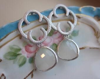 White Opal Earrings Silver Clovers - Sterling Silver Earwires - Bridesmaid Earrings - Wedding Earrings - Bridal Earrings