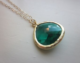 Emerald Green Necklace Gold Plated Large Pendant - Gold Filled Chain - Wedding Jewelry - Bridesmaid Jewelry - Valentines Day Gift