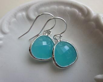 Pacific Aqua Mint Blue Earrings Silver - Sterling Silver Earwires - Bridesmaid Earrings Bridesmaid Jewelry Wedding Earrings Wedding Jewelry