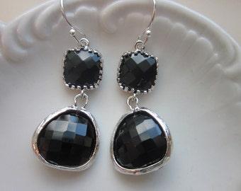 Black Onyx Earrings Silver Two Tier - Sterling Silver Earwires - Bridesmaid Earrings Wedding Earrings Bridal Earrings