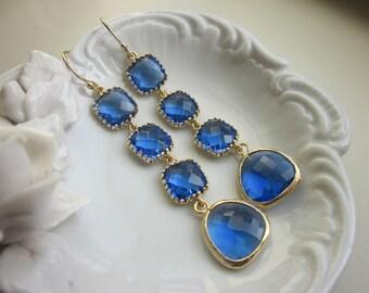 Cobalt Earrings Blue Gold Plated Earrings 4 tier - Bridesmaid Earrings - Wedding Jewelry - Bridal Earrings - Valentines Day Gift