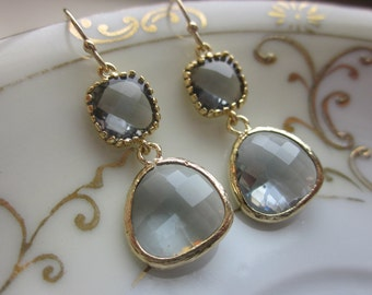 Charcoal Gray Earrings Gold Plated Two Tier - Bridesmaid Earrings - Wedding Earrings - Valentines Day Gift