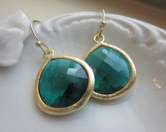 Emerald Green Earrings Gold Plated Large Pendant - Wedding Earrings - Bridal Earrings - Bridesmaid Earrings