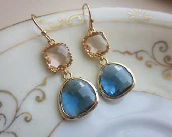 Champagne Peach Earrings Sapphire Navy Gold Plated - Bridesmaid Earrings - Wedding Earrings - Valentines Day Gift