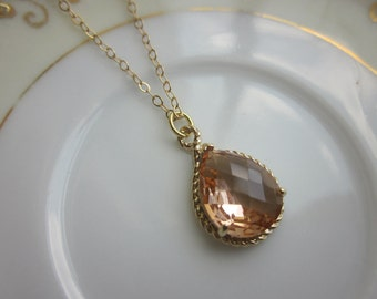 Blush Champagne Necklace Peach Pink Gold Teardrop - 14k Gold Filled Chain - Wedding Jewelry - Bridesmaid Jewelry - Blush Bridesmaid Necklace