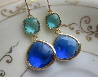 Large Cobalt Blue Earrings Gold Sea Green Two Tier -  Bridesmaid Earrings Wedding Earrings Valentines Day Gift