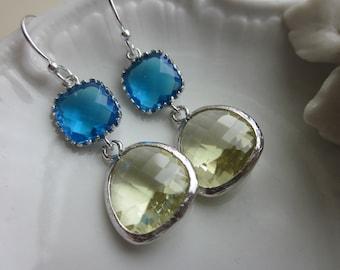 Citrine Earrings Sea Blue Silver Plated Two Tier - Bridesmaid Earrings - Bridal Earrings - Wedding Earrings
