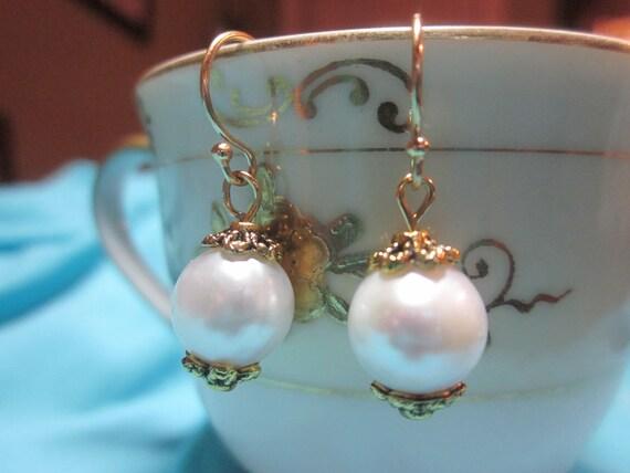 9mm Round White Freshwater Pearl Earrings Gold Ornate Beadcaps - Wedding Earrings - Bridal Earrings - Bridesmaid Earrings - Christmas Gift