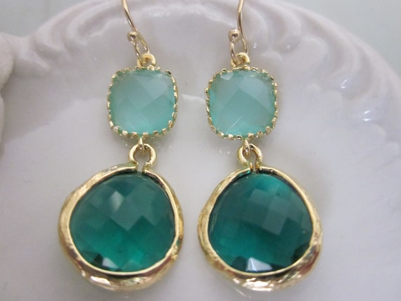Emerald Green Earrings Aqua Mint Blue Earrings Gold - Bridesmaid Earrings Wedding Earrings Bridesmaid Jewelry Wedding Jewelry