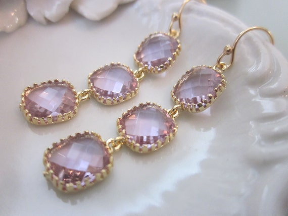 Lavender Earrings Gold Purple Earrings - Bridesmaid Earrings - Bridal Earrings - Wedding Earrings - Valentines Day Gift - Gift under 40