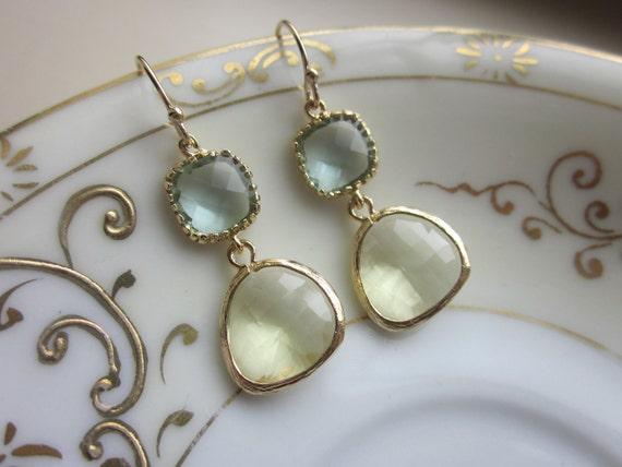 Citrine Earrings Prasiolite Glass Gold Plated - Bridesmaid Earrings - Wedding Earrings - Valentines Day Gift
