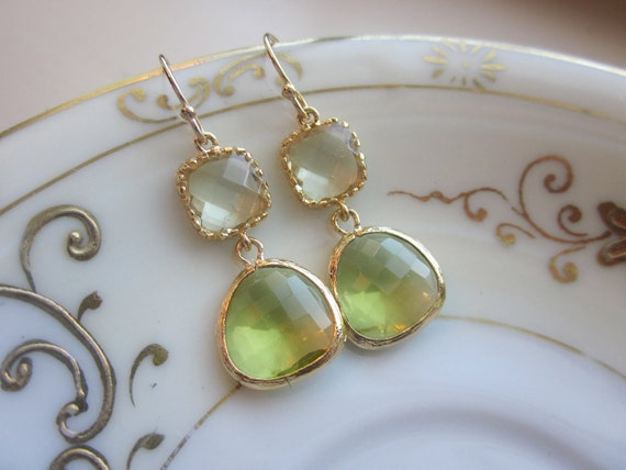 Peridot Earrings Green Citrine Block Gold Plated - Bridesmaid Earrings Wedding Earrings Valentines Day Gift