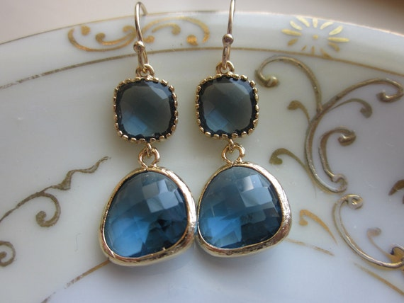 Navy Blue Earrings Sapphire Gold Plated - Bridesmaid Earrings - Wedding Earrings - Valentines Day Gift