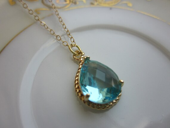 Aquamarine Necklace Gold Aqua Blue Teardrop - 14k Gold Filled Chain - Bridesmaid Jewelry - Wedding Jewelry - Valentines Day Gift