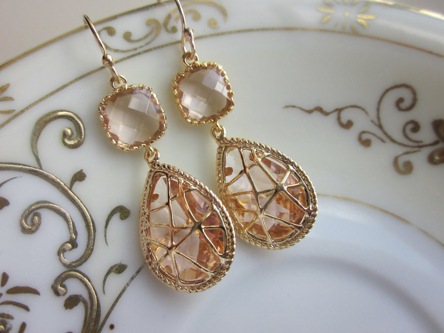 Champagne Peach Earrings Pink Gold Twisted Design Bridesmaid