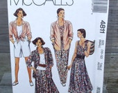 1990 Uncut McCalls Pattern 4811 Misses Shirt, Top, Skirt, Pants or Shorts Size 10, 12 Small