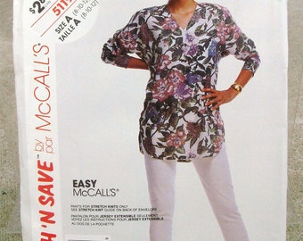 1990 Uncut Stitch n Save  Easy  McCall's Pattern  5119 Misses Tunic and Pants- Pants for stretch knits only  Size 8, 10, 12