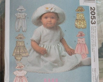 Sale 1999 Easy Uncut McCalls Pattern 2053  All Sizes Infant's Dress, Rompers in Two Lengths with Snap Crotch, Panties and Hat Size Sm-Xl