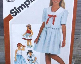 1982 Uncut Simplicity Pattern 5858 Girls Sundress and Unlined Jacket  Size  8