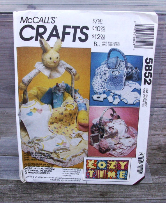 1992 Uncut  McCall's Crafts Infants Basket/ Gift Package Pattern 5852