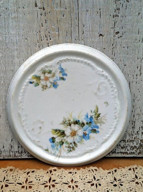 Old Porcelain Teapot Trivet/Holder - Beautiful Floral Design