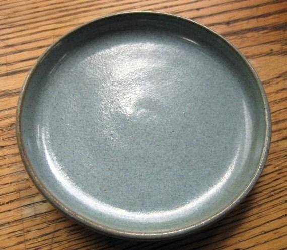 "Vintage Rowantrees Pottery Plate ""Mist Blue"" Glaze 5.5"" Unusual Backstamp Blue Hill, Maine"