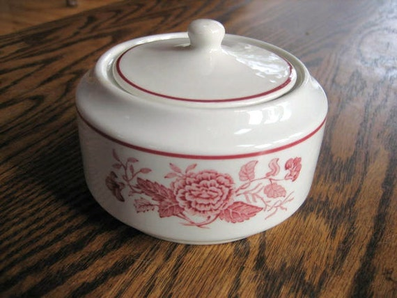 Walker China Sugar Bowl w Lid Restaurant Ware Mid-Century Red Floral on White Vitrified China