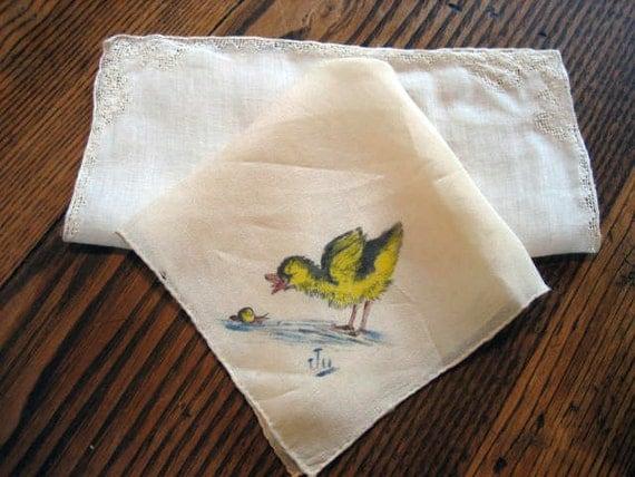 2 1950s Childrens Handkerchief Handpainted Duck on Silk Signed Ju & White Openwork Corners