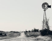 windmill, rural, Iowa, black and white landscape print