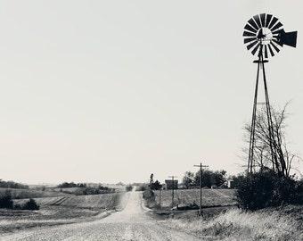 windmill, rural, Iowa, black and white landscape print