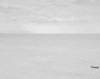 Fine art,  seascape, boat,  minimalist high key seascape with boat, 8 x 12