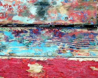 Abstract, color, paint, detail of wooden boat, cracked paint, 8 x 12 print