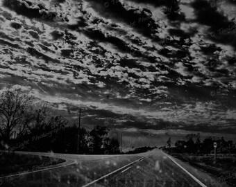 Road, clouds, Iowa, 8 x 10 black and white print