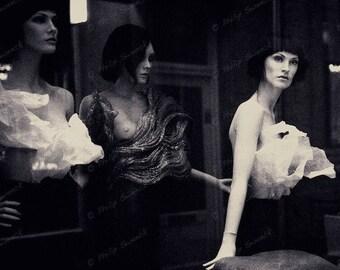 surreal mannequin dolls, vintage urban, 8 x 12 print