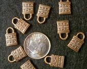 Copper Finish Padlock Charms 13mm x 8 mm Qty 10