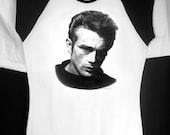 James Dean Baby Doll T w/ Black Cap Sleeves - Original Graphite Portrait