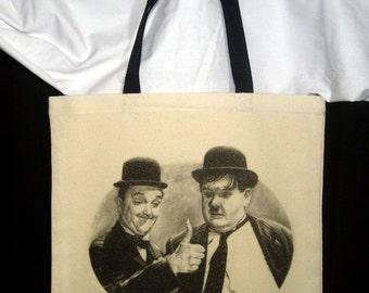 Laurel and Hardy Beige Canvas tote bag w/ Black Handles - Original Graphite Portrait