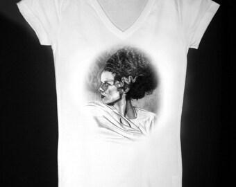 The Bride of Frankenstein Womens V Neck T Shirt - Original Graphite Portrait