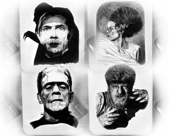Four Mouse Pads - Classic Hollywood Monsters - Original Graphite Portraits